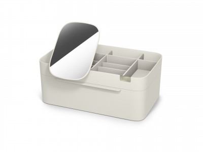 Viva Large cosmetic organiser with removable mirror - Shell
